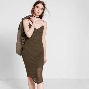 Express Sheer Ribbed Midi Dress